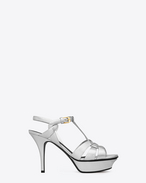 Classic TRIBUTE 75 sandal in Silver Metallic Leather
