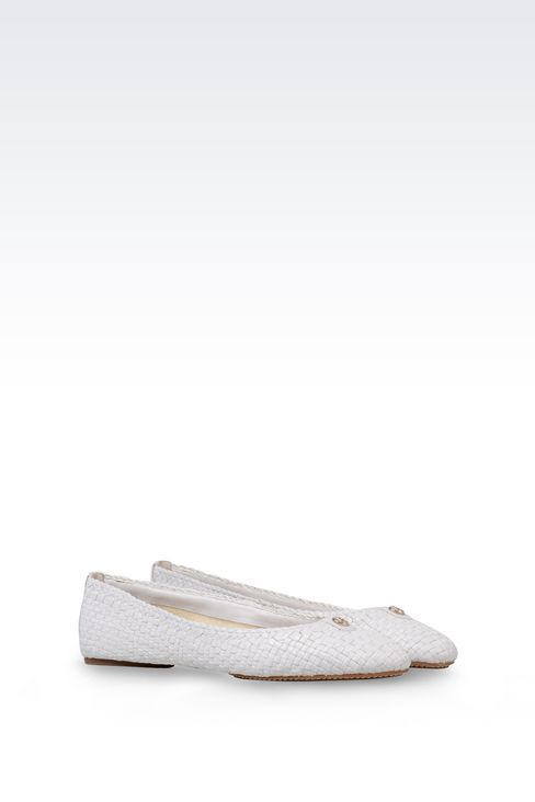 BALLET FLAT IN WOVEN LEATHER: Ballet flats Women by Armani - 2