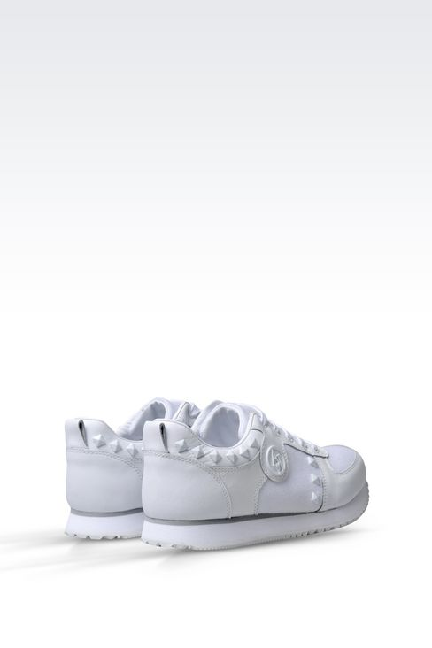 SNEAKER IN CANVAS AND LEATHER WITH STUDS: Sneakers Women by Armani - 3