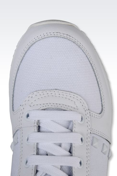 SNEAKER IN CANVAS AND LEATHER WITH STUDS: Sneakers Women by Armani - 4