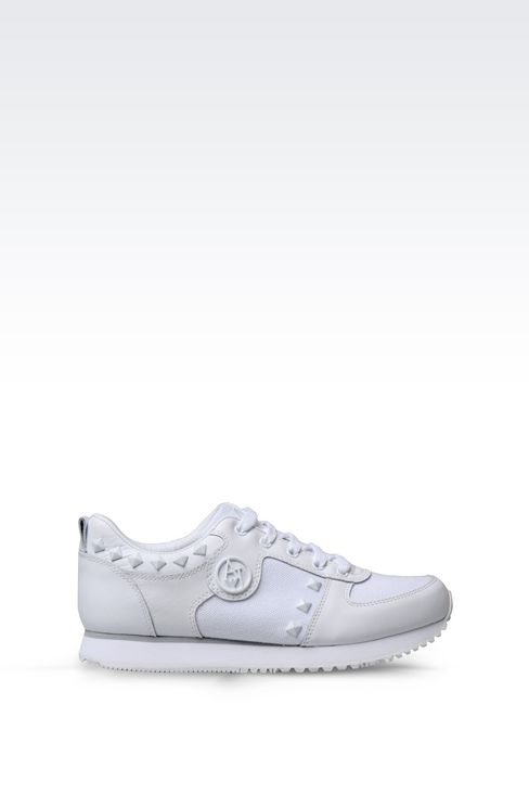 SNEAKER IN CANVAS AND LEATHER WITH STUDS: Sneakers Women by Armani - 1