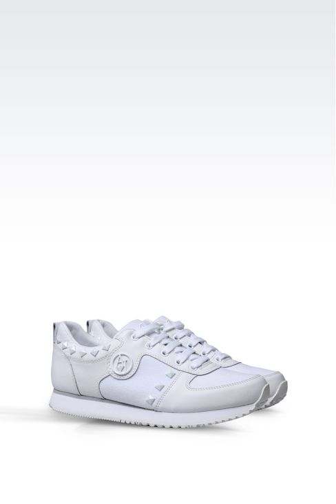 SNEAKER IN CANVAS AND LEATHER WITH STUDS: Sneakers Women by Armani - 2