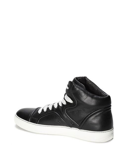 lanvin mid-top sneaker with nappa lambskin piping men