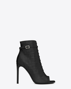 CLASSIC JANE OPEN-TOE LACED ANKLE BOOT IN BLACK CROCODILE EMBOSSED LEATHER