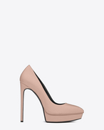 CLASSIC JANIS 105 ESCARPIN PUMP IN Pale Blush textured LEATHER