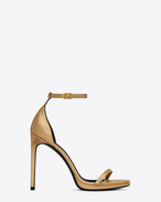 Saint Laurent CLASSIC JANE 105 ANKLE STRAP SANDAL IN Dark Gold Grained Metallic LEATHER |