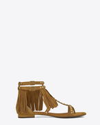 NU PIEDS FRINGED FLAT SANDAL IN Tan Suede AND Gold-TONED METAL STUDS