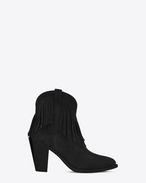 NEW WESTERN 80 FRINGED ANKLE BOOT IN BLACK SUEDE