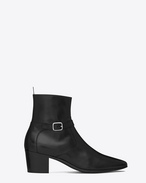 FRENCH 60 Ankle Strap BOOT IN BLACK LEATHER