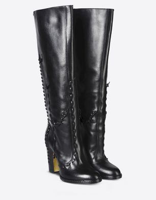 Tall leather boots with leather stitch detail