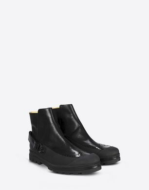 Calfskin utility ankle boots