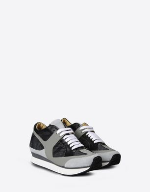 Metallic and faux fur trainers
