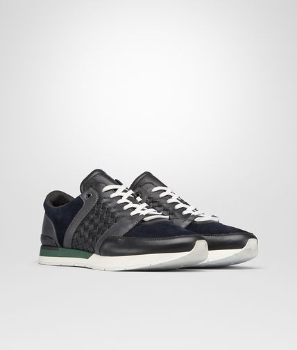 SNEAKER IN NERO CALF INTRECCIATO AND DARK NAVY SUEDE