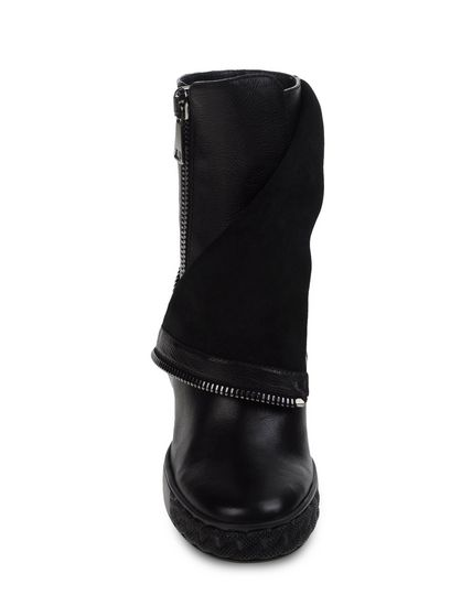 casadei 90mm perforated leather wedge boots black
