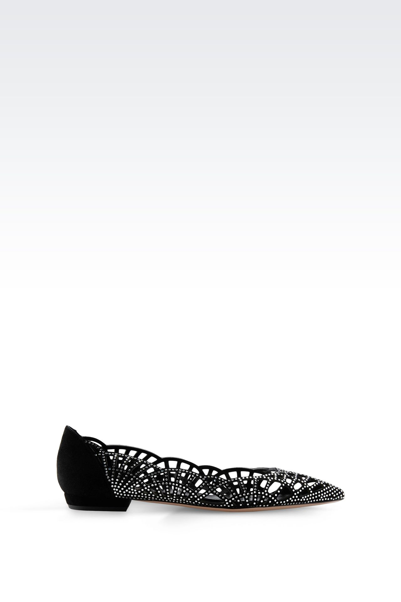 SUEDE BALLET FLAT WITH RHINESTONES: Ballet flats Women by Armani - 0