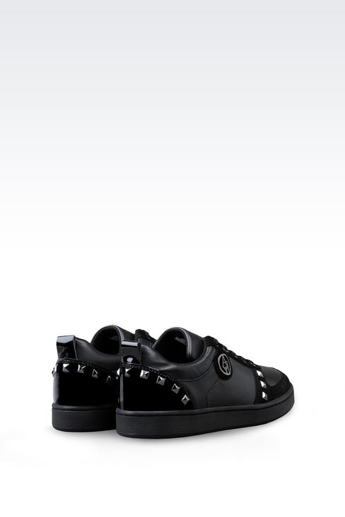 SNEAKER IN LEATHER WITH STUDS: Sneakers Women by Armani - 3