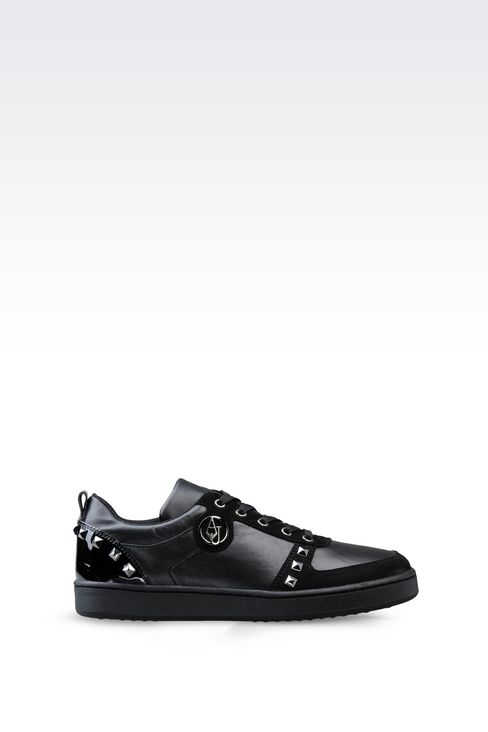 SNEAKER IN LEATHER WITH STUDS: Sneakers Women by Armani - 1
