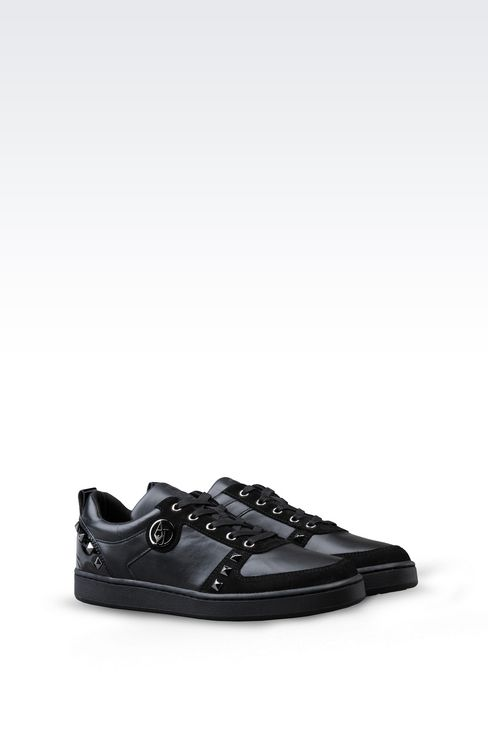 SNEAKER IN LEATHER WITH STUDS: Sneakers Women by Armani - 2