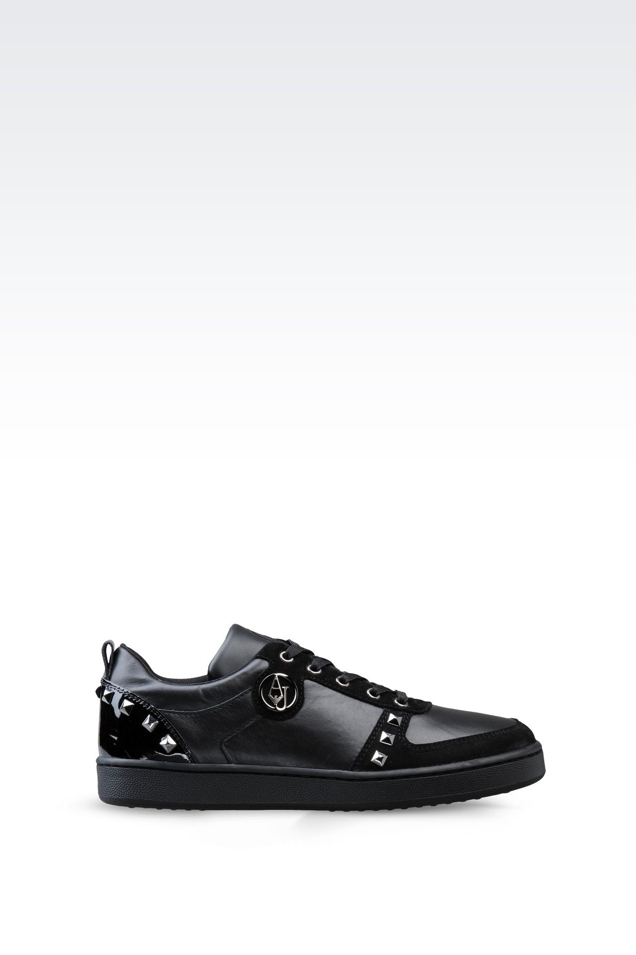 SNEAKER IN LEATHER WITH STUDS: Sneakers Women by Armani - 0