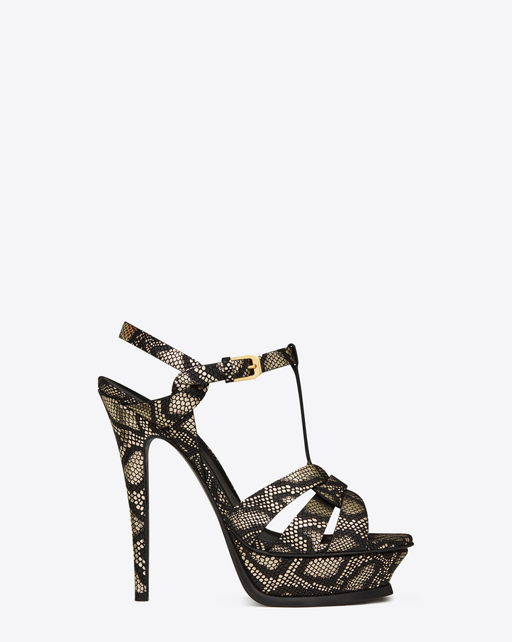 Saint Laurent Classic TRIBUTE 105 Sandal In Black And Gold Python ...