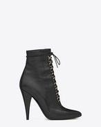 FETISH 105 Lace-Up Ankle Boot in Black shiny Leather