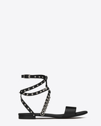 NU PIED 10 Studded Harness Strap Sandal in Black Leather and Silver-Toned Metal