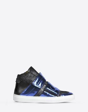Calfskin and metallic high top sneakers