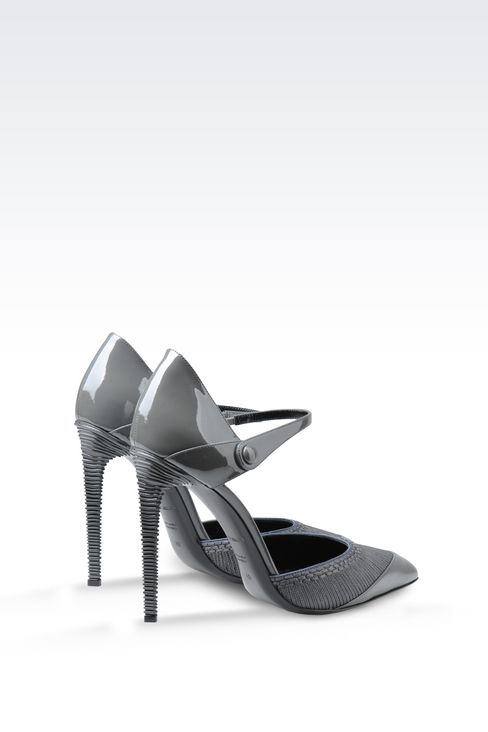 PATENT COURT SHOE WITH EMBROIDERY: Pumps Women by Armani - 3