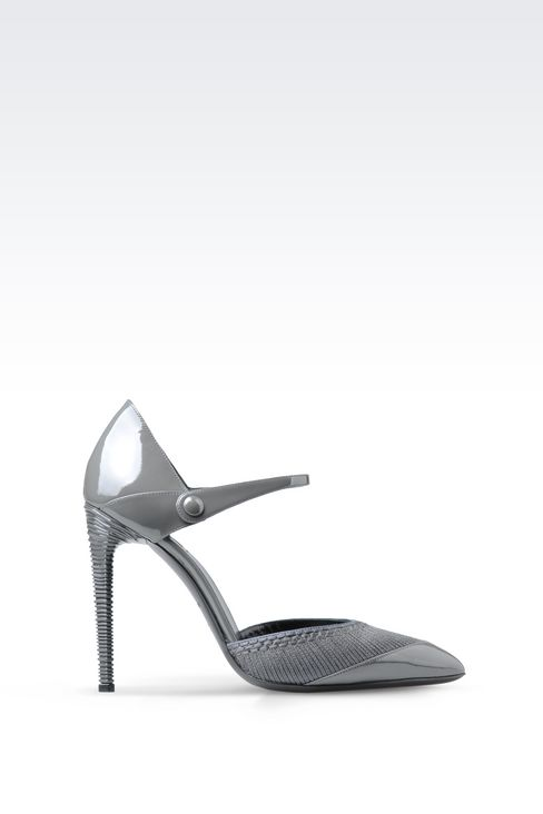 PATENT COURT SHOE WITH EMBROIDERY: Pumps Women by Armani - 1