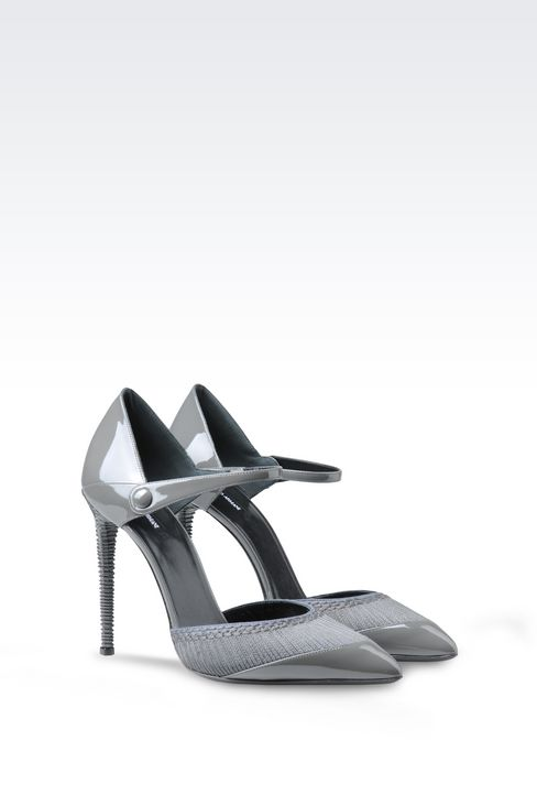 PATENT COURT SHOE WITH EMBROIDERY: Pumps Women by Armani - 2