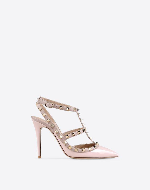 Studs Leather sole Narrow toeline Spike heel Buckling ankle strap closure Varnished effect  Women 44882612HL