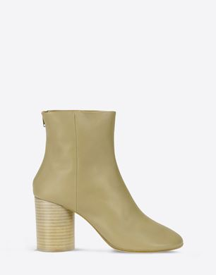 Calfskin ankle boots with stacked heel