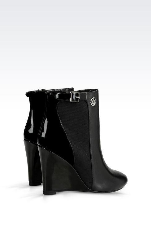 LEATHER ANKLE BOOT WITH WEDGE: Ankle boots Women by Armani - 3