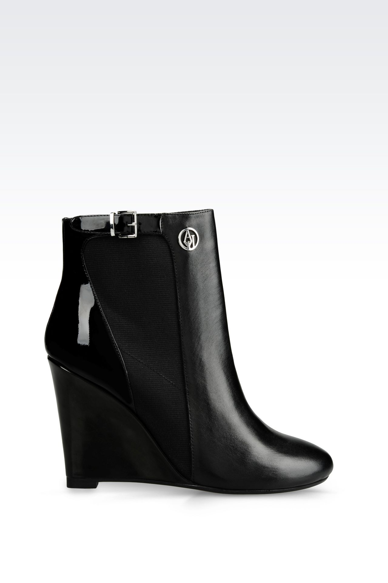 LEATHER ANKLE BOOT WITH WEDGE: Ankle boots Women by Armani - 0