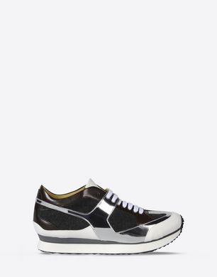 Mixed material trainers with metallic detail