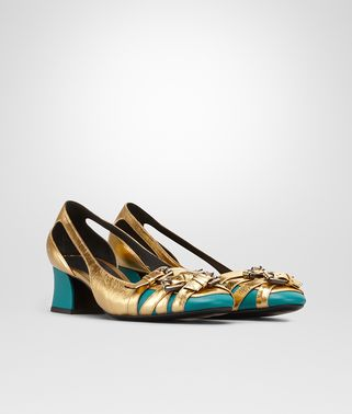 LIGHT GOLD AND CANARD METALLIC CALF AND NAPPA PUMP
