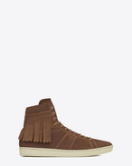 SIGNATURE COURT CLASSIC SL/18H Fringed High Top SNEAKER IN Hazelnut Suede
