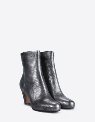 Metallic leather ankle boots with curved heel