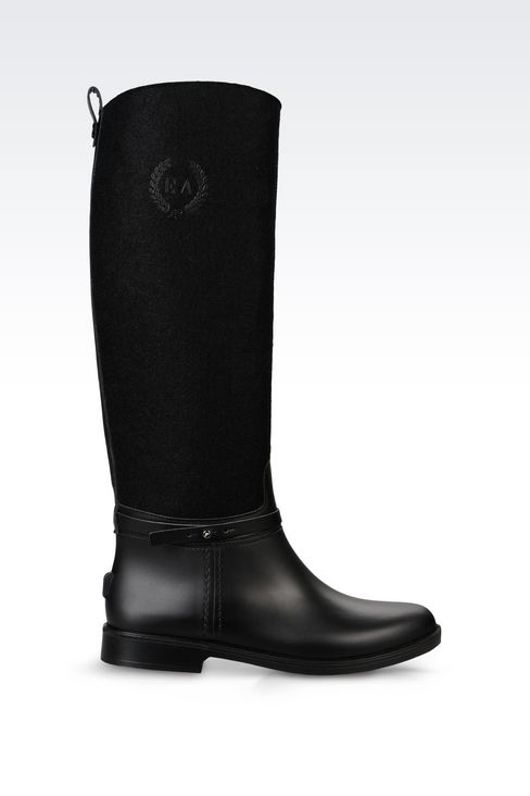 RAIN BOOT IN RUBBER AND FELT: Rainboots Women by Armani - 1