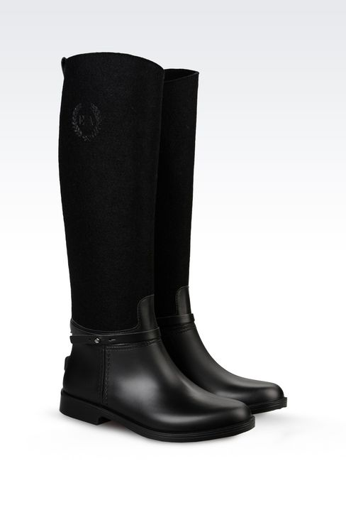 RAIN BOOT IN RUBBER AND FELT: Rainboots Women by Armani - 2