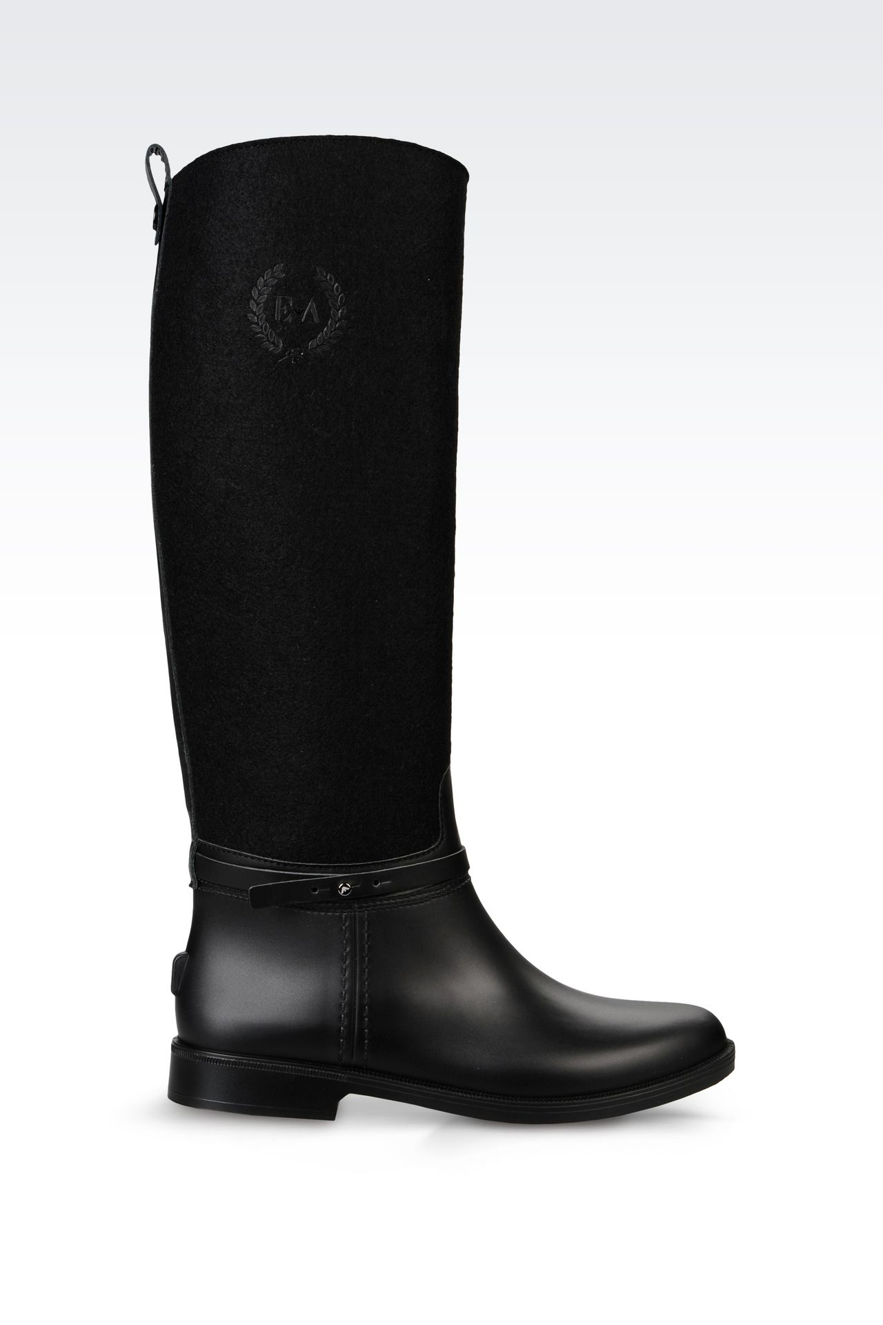 RAIN BOOT IN RUBBER AND FELT: Rainboots Women by Armani - 0