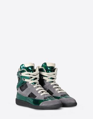 Metallic and suede high top sneakers