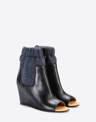 Open toe ankle boots with sock detail