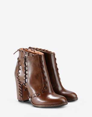 Ankle boots with leather stitch detail