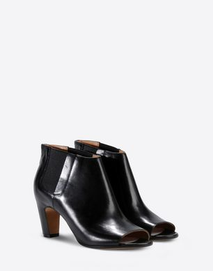 Calfskin open toe ankle boots with elastic detail