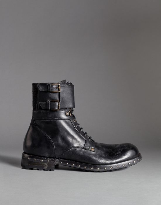 mold effect leather san pietro combat boots dolce