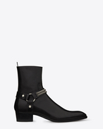 Classic Wyatt Chain Harness Boot in Black leather