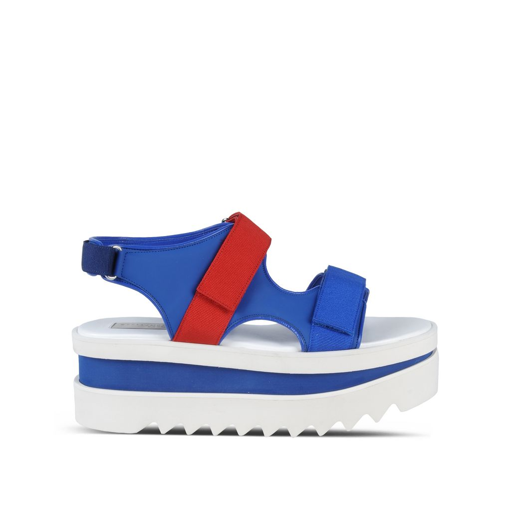 Blue Velcro Wedge Sandals