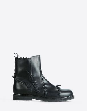 Flat ankle boots with leather stitch detail