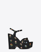 CANDY 85 Knotted Sandal in Black and Multicolor Prairie Flower Printed Leather